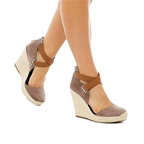 (PiePieBuy Womens Espadrille Wedges Ankle Strap Closed Toe Heeled Sandals (5 B(M) US, Taupe))