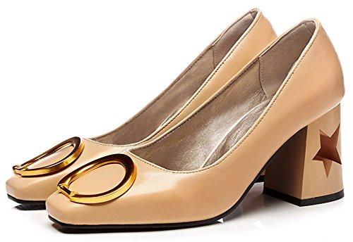 Idifu Donna Retrò Punta Squadrata Basso Alto Alto Con Tacco Grosso Slip On Office Pumps Shoes Albicocca