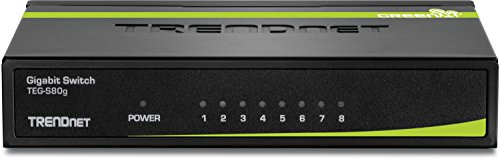 TRENDnet 8-Port Unmanaged Gigabit GREENnet Desktop Metal Housing Switch, 16Gbps Switching Capacity, Plug & Play, TEG-S80G