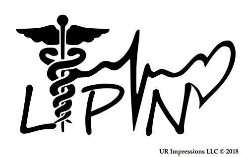 UR Impressions Blk Licensed Practical Nurse - LPN Caduceus Lifeline Heart Decal Vinyl Sticker Graphics Car Truck SUV Van Wall Window Laptop Black 7.5 X 4.1 Inch URI559