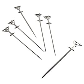 Prodyne Stainless Steel Martini Picks, Set of 6 1 Realistic Martini Glass Picks High quality stainless steel shafts Fun designs adds a splash to any cocktail