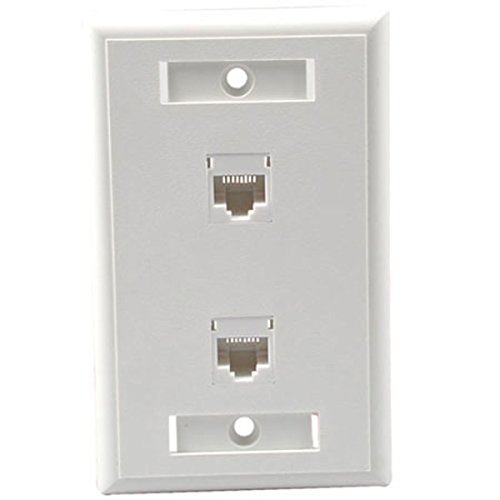 C2G 27416 Two Port Cat5e RJ45 Configured Single Gang Wall Plate, White