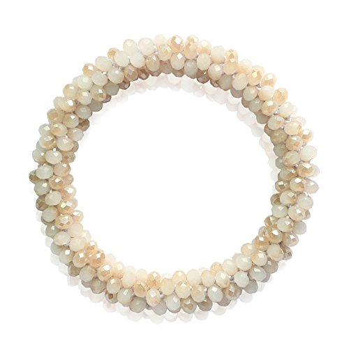 Crystal Stretch Beaded Bracelet Ivory Amber AB Glass Beads Wrap Bridal Bracelet Jewelry for Women