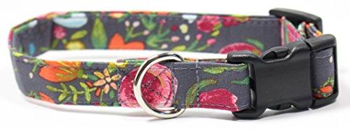 (Ruff Roxy Rosey Posey, Designer Cotton Dog Collar, Adjustable Handmade Fabric Collars (S), Grey, Pink, Yellow)