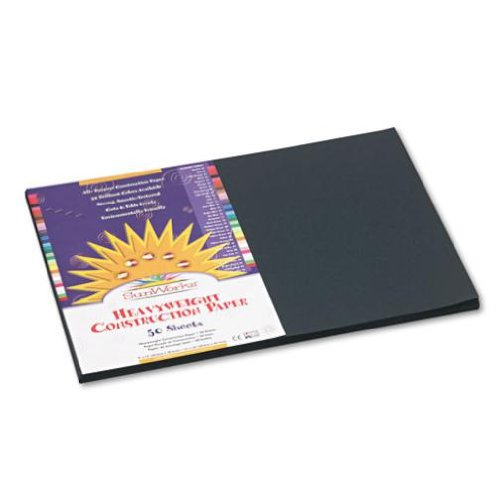 SunWorks 6307 Construction Paper, 58 lbs, 12 x 18, Black, 50 Sheets/Pack PACON CORPORATION
