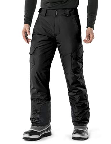 TSLA Men's Rip-Stop Snow Pants Windproof Ski Insulated Water-Repel Bottoms, Snow Cargo(ykb83) - Black, 2X-Large (Waist 38.5-41 Inch)