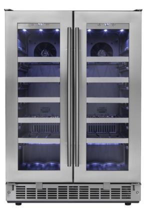 Danby DWC047D1BSSPR 24'' Napa French Door Built In Wine Cooler with 4.7 cu. ft. Capacity 42 Bottles of Wine LED Lighting Smudge Resistant Stainless Door in Stainless by Danby