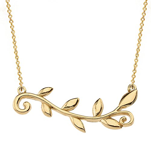 Women's 14k Yellow Gold High Polish Horizontal Olive Branch Necklace, - 18k Branch Gold