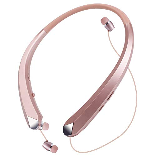 Wireless Headphones Neckband, Retractable Bluetooth Headset HD Stereo Earbuds Earphones with Mic, Vibrating Call Alert (Rose Gold)