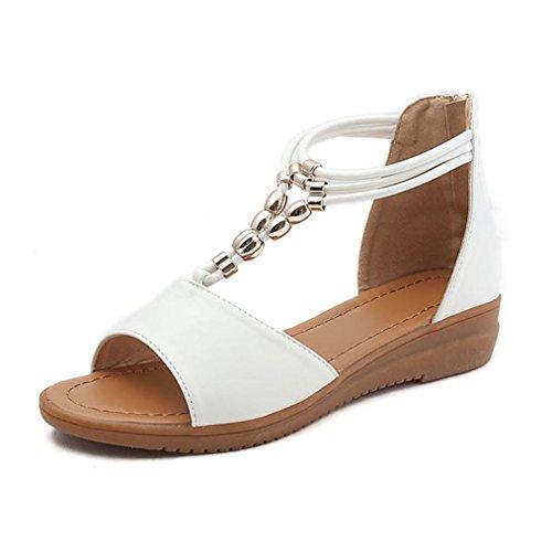 Vacaciones Las para Sandalias Romanos RETUROM Mujeres Las Señoras Sandalias de de de Zapatos Blanco Mujer Cuña la Sandalias de aCwBSqB