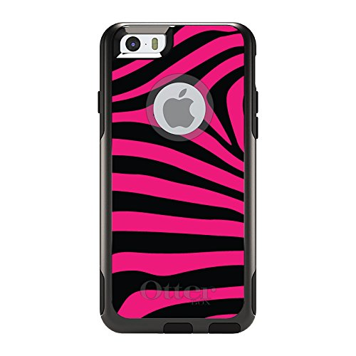 DistinctInk Case for iPhone 6 / 6S (NOT Plus) - OtterBox Commuter Black Custom Case - Black Hot Pink Zebra Skin Stripes