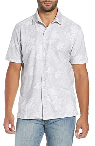 Tommy Bahama Island Zone Falling Fronds Camp Shirt (Color: Zinc Gray, Size L)