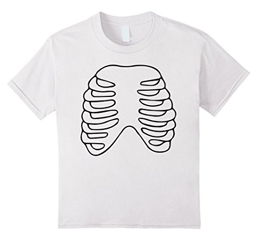 Kids HALLOWEEN SKELETON SHIRT | Costume Rib Cage Anatomy T-Shirt 8 (All White Costume Contact Lenses)