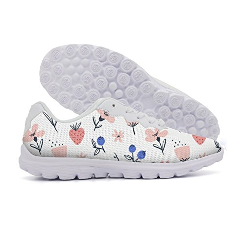 rttyl et67u67 Cool Womens Abstract Flowers And Berries On White Camping Track Sneaker