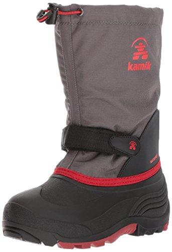 Kamik Children's Snow Boots - Kamik Girls' Waterbug5 Snow Boot, Charcoal/Red, 11 Medium US Little Kid