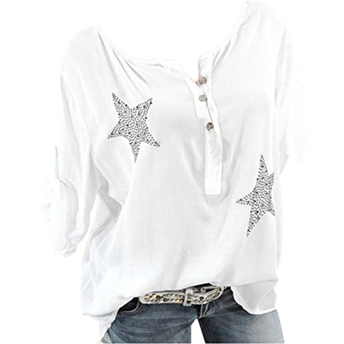 Button Down Plus Size Tops Five-Pointed Star Hot Drill Blouse for Women White