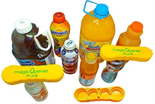 Only For Larger Plastic Caps Opener | Arthritis Bottle Opener | Seniors help | magic Opener PLUS | Magnetic and Ergonomic | ready for 8 Large screw off plastic bottles | Twist off large caps ez