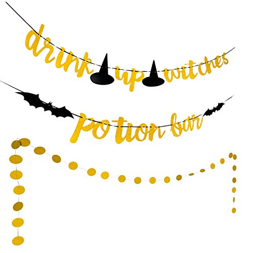 Halloween Witch Potions (Halloween Banner Gold Glittery Potion Bar Banner, Drink Up Witches Banner and Circle Dots Garland for Halloween Party Home Decoration)