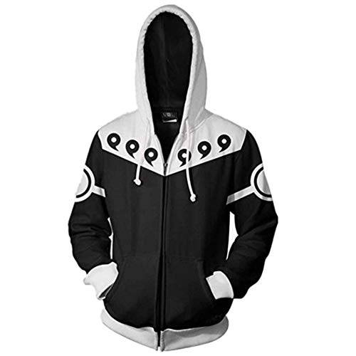 CHENMA Men Naruto Kakashi Long Sleeve Full-Zip Bomber Jacket Hooded Varsity Jacket (L/US M, Winter/Six Paths)