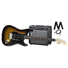 Squier by Fender Stratocaster Beginner Electric Guitar Pack with Frontman 15G Amplifier - Brown Sunburst Finish - HSS