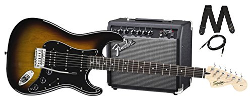 Squier by Fender Stratocaster Beginner Electric Guitar Pack with Frontman 15G Amplifier - Brown Sunburst Finish - HSS by Fender