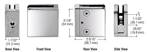 (CRL Polished Stainless Z-Series Flat Surface Mount Square Type Glass Clamps for3/4