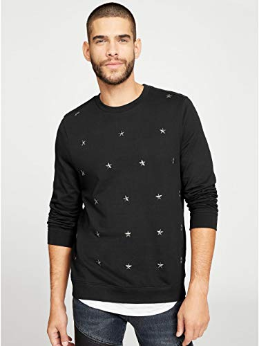 G by GUESS Men's Adrian Star Sweatshirt Jet Black ()