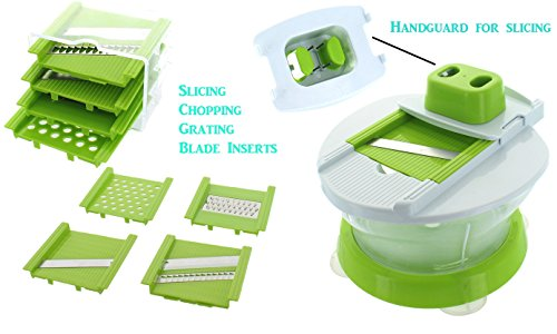 CHEF CHIFFON Complete Kitchen Multi-Function Manual Food Processor - Salad Spinner, Mixer, Beater, Blend, Chop, Slice, Shred, Julienne, Juice (Includes FREE Cooler Lunch Bag)