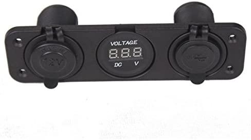 SODIAL(R) Triple cargador USB de 3,1 Amperios + Voltimetro +12 V Panel de enchufe