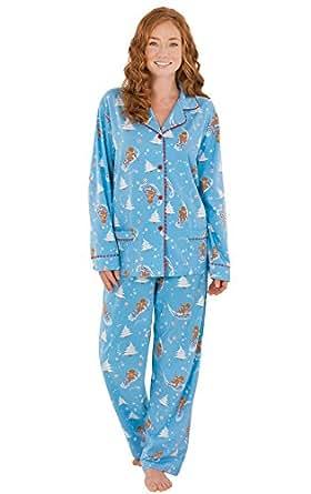 PajamaGram Flannel Gingerbread Fun Matching Family Pajama Set, Women's Medium / 8-10, Multicoloured