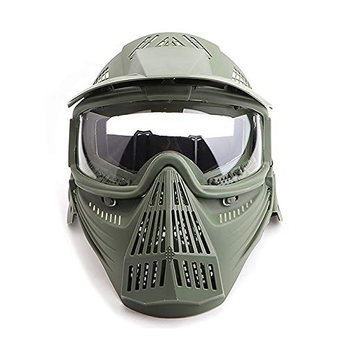 Paintball Mask Airsoft Masks Full Face Tactical Protection Gear with Clear Glasses for Halloween BBS CS Game Costume Accessories Motocross Skiing Green & ClearLens