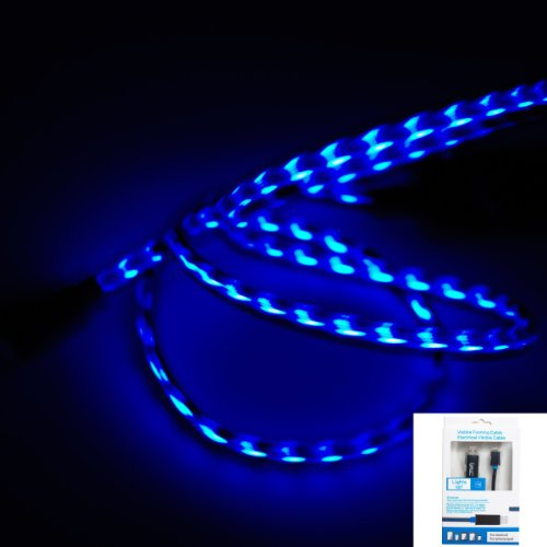 IMZ (TM) Black Blue Visible Flowing LED EL Light Micro USB Sync Data Charging Charger Cable for Samsung Galaxy S6/S6 Edge/S4/S3/S/i9500, Note/5/4/2, Epic 4G Touch, Skyrocket, Galaxy Attain, Google Nexus, HTC ONE M9/M8/M7 Max X, One Plus One/1+1 and More Android Smart Phones