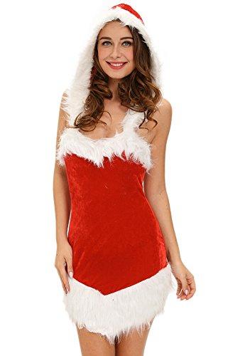 Inspiration Helper Santas Santas Christmas Costumes (Oncefirst Women's Christmas Cosplay Dress with Hood Sleeveless Costume)