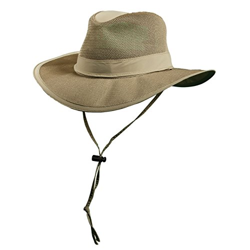 Dorfman Pacific Khaki Outdoor Safari Supplex Coolmax Mesh Walls Chin Cord (MC62) (Dorfman Pacific Mesh Safari Hat)