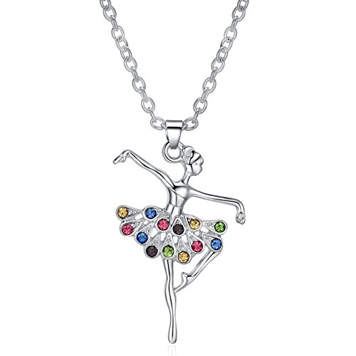 ELOI Ballerina Recital Gifts Multicolor Ballet Dance Necklace Necklaces for Teen Girls Jewelry 16 Inch