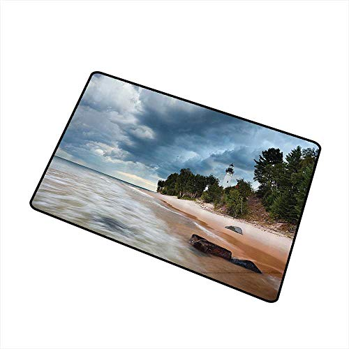 Non-Slip Door mat Lighthouse Decor Collection Au Sable Lighthouse in Pictured Rock National Lakeshore Michigan USA Picture W30 xL39 Easy to Clean Cloudy Blue - Sable Rug Garden