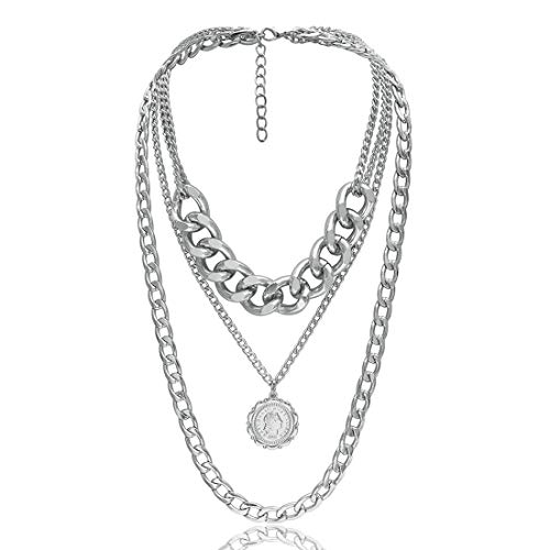 Fashion Silver Multi-Layer Chain Necklace Long Chain Pendant Necklaces Party Jewelry for Women Girls ()