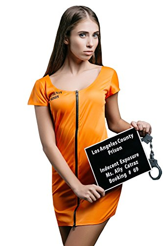 [Adult Women Most Wanted Prisoner Halloween Costume Convict Dress Up & Role Play (Standard+)] (Robber Halloween Costume Ideas)