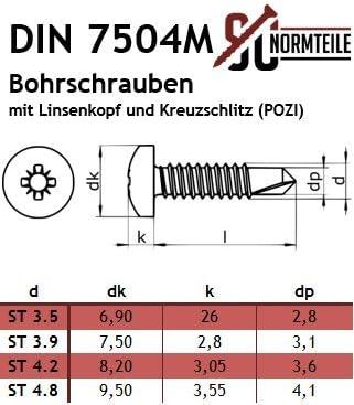 POZI SC7504M mit Bohrspitze//selbstschneidend 1000 St/ück aus rostfreiem Edelstahl A2 V2A - 4,8x25 - Bohrschrauben mit Linsenkopf und Kreuzschlitz - DIN 7504 M