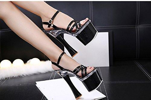 Plataforma Alto Sandalias Negro Tacón De Para Huaishu Cristal Chicas Mujer Verano Chanclas Impermeable a8UxwqU