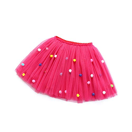 Little Big Girls' 3 Layers Tulle Tutu Skirt Princess Party Dancing Ballerina Skirt Girls Clothes Fushia Tag 110 (4-5 Years)