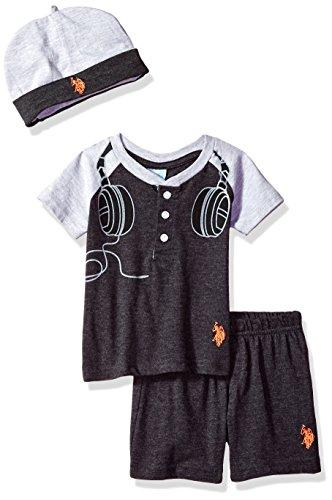 U.S. Polo Assn. Baby Boy's T-Shirt and Short Set Shorts, Printed Headphones Dark Heather Gray, 24M