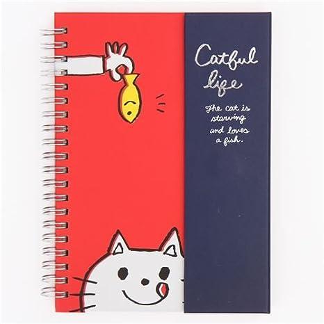 Libreta de anillas bloc rojo azul oscuro animal gato pez de Japón: Amazon.es: Juguetes y juegos