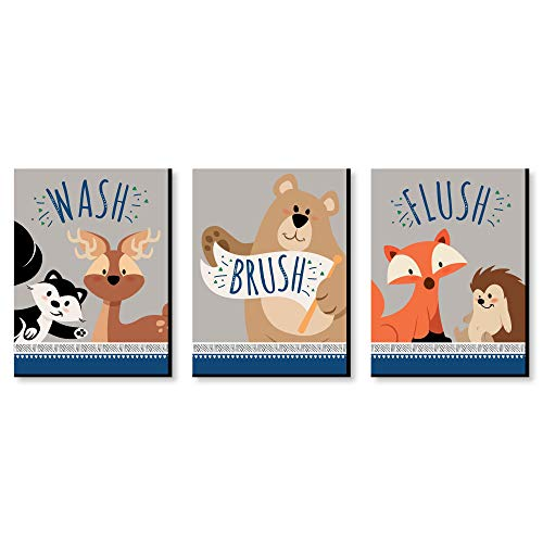 (Stay Wild - Forest Animals - Kids Bathroom Rules Wall Art - 7.5