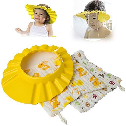 (CLORIS 3pcs Soft Adjustable Baby Shower Cap and Baby Bids Towel, 3D Waterproof Baby Bath Cap EVA Foam Kids Children Shampoo Hat Bath Baby Shower Cap Hat Wash Hair Shield Hat)