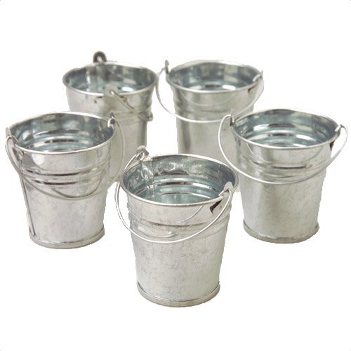 Tin Pail Bucket (Mini Metal Buckets,Pack of 12)