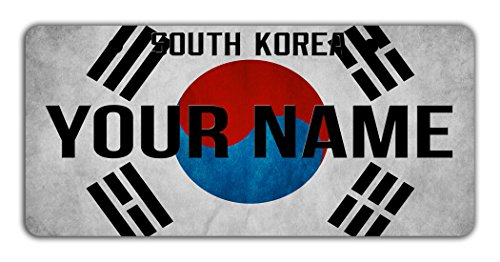 Korea National Costume (BleuReign(TM) Personalized Custom Name License South Korea Flag Plate Bicycle Bike Moped Golf Cart 3