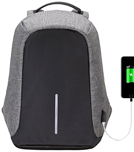 Marggle A-001 Anti Theft Travel Laptop, (2017 Humanized Design) Marggle Lightweight and Durable School Backpack with USB Charging Port for Business and Travel Outdoor, Grey