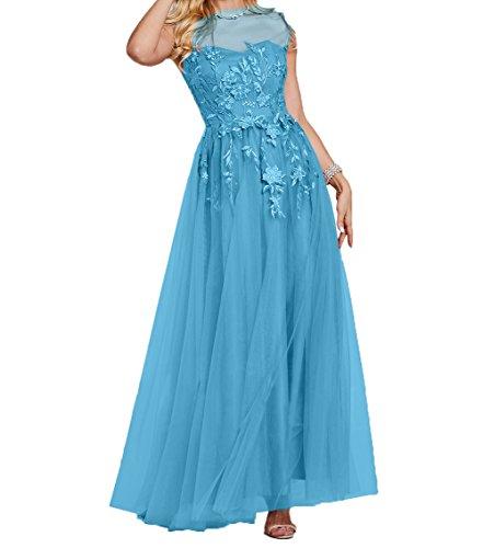 Langes Tuell Ballkleider Blau A Partykleider Charmant Abschlussballkleider Abendkleider Applikation Damen Linie Rock Spitze E1z4z7q5Hw