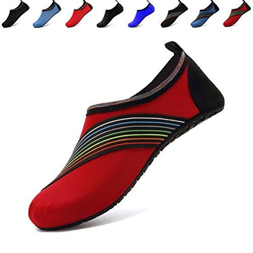 Anluke Water Sports Barefoot Shoes Sneldrogend Aqua Yoga Sokken Instapper Voor Heren Dames Kinderen F Rood / Kant